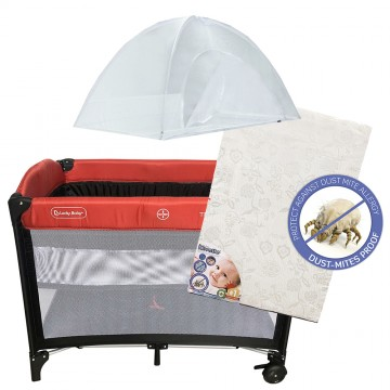 S9™ Travel Playpen + Anti Dustmite Mattress - Red