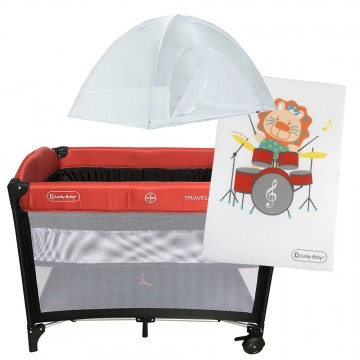 S9™ Travel Playpen + Foldable Mattress - Red
