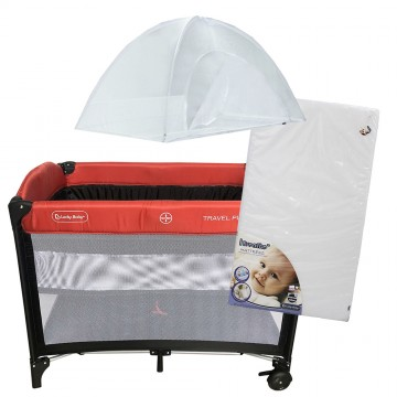 S9™ Travel Playpen + iBreathe Mattress - Red