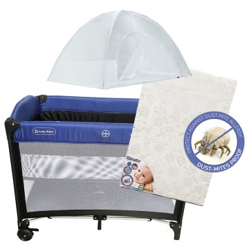 S9™ Travel Playpen + Anti Dustmite Mattress - Blue