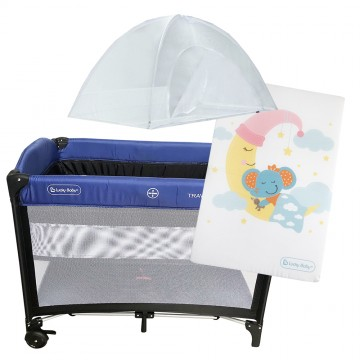 S9™ Travel Playpen + Foldable Mattress - Blue