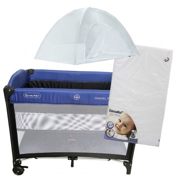 S9™ Travel Playpen + iBreathe Mattress - Blue