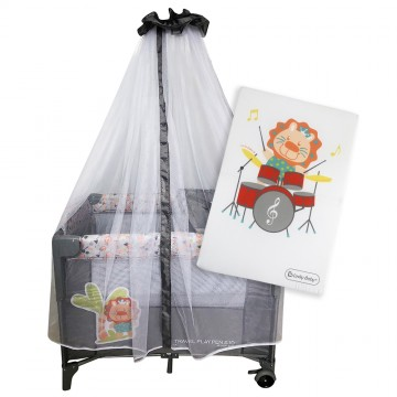 S10 Bedside Playpen + Foldable Mattress - Lion