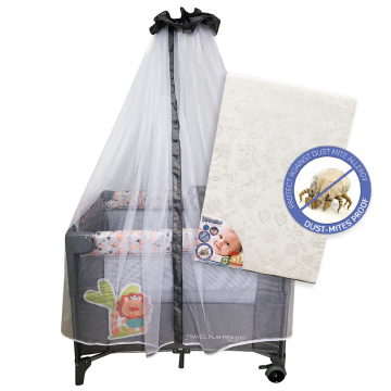 S10 Bedside Playpen + Anti Dustmite Mattress - Lion