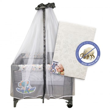 S10 Bedside Playpen + Anti Dustmite Mattress - Elephant