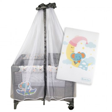 S10 Bedside Playpen + Foldable Mattress - Elephant