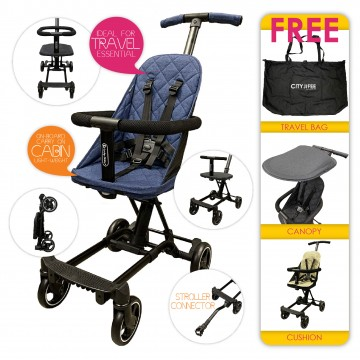 City Jifee™ Convertible Multi Rider (FREE Cushion + Canopy + Travel Bag) - BLUE