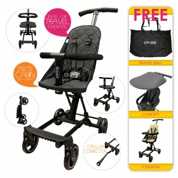City Jifee™ Convertible Multi Rider (FREE Cushion + Canopy + Travel Bag) - BLACK