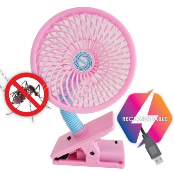 Multi Ultrasonic Rechargeable Mosquito Repellent + Fan (Pink)