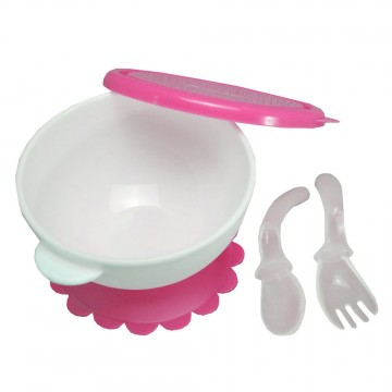 Groovy™ Suction Bowl with Fork & Spoon