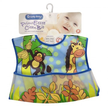 Primo Eezee™ Clean Bib W/Velcro Crumb Catcher Pocket - Safari