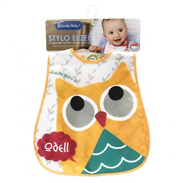 Stylo Eezee™ Clean Bib W/Flip Crumb Pocket - Owl