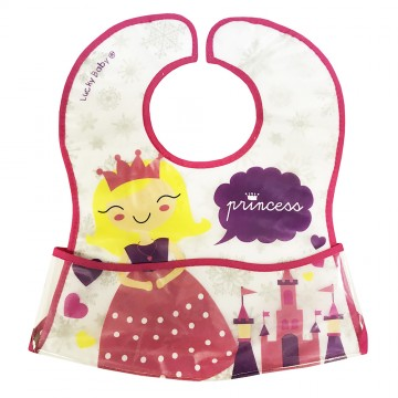 Primo Eezee™ Clean Bib W/Velcro Crumb Catcher Pocket - Princess