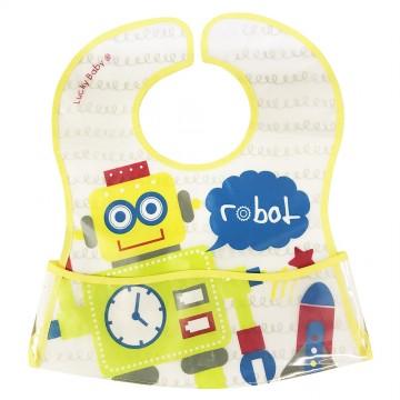 Primo Eezee™ Clean Bib W/Velcro Crumb Catcher Pocket - Robot