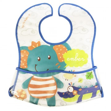 Primo Eezee™ Clean Bib W/Velcro Crumb Catcher Pocket - Elephant