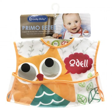Primo Eezee™ Clean Bib W/Velcro Crumb Catcher Pocket - Owl