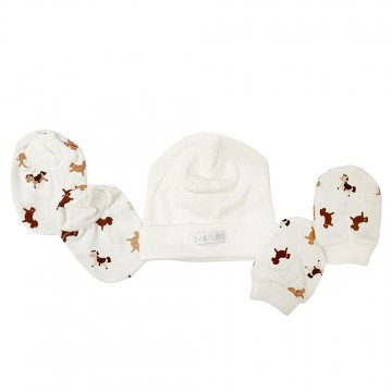 Hat, Mitten & Bootees Set - Little Gift Horse