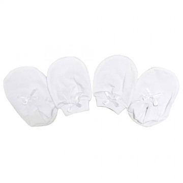 New Born Mitten & Bootees Set - White