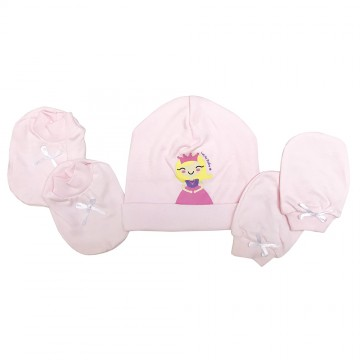 Hat, Mitten & Bootees Set - Princess