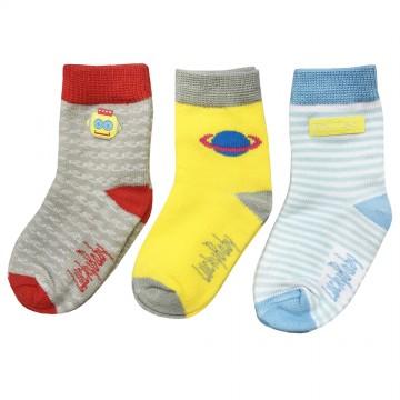 First Soks™ 3 Pairs Tot Up Socks - Robot