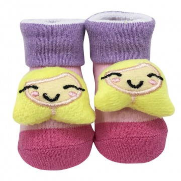 First Soks™ Fold Up Socks W/Rattle - Princess