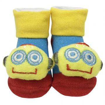First Soks™ Fold Up Socks W/Rattle - Robot