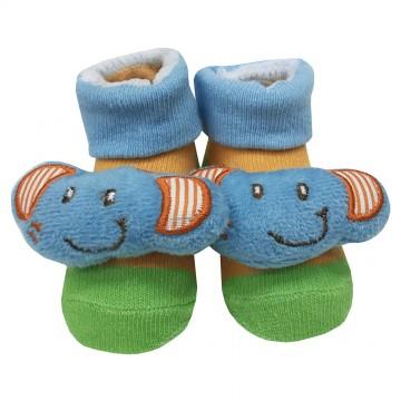 First Soks™ Fold Up Socks W/Rattle - Elephant