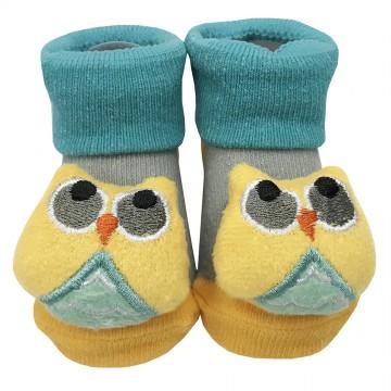 First Soks™ Fold Up Socks W/Rattle - Owl