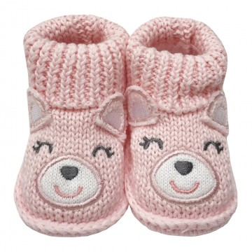 First Soks™ Fold Up Socks W/Rattle - Pink Bear