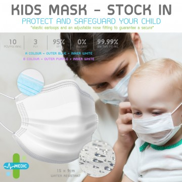 Medic Kids Earloop 3Ply Face Mask - 10pcs/Bag