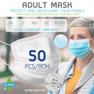 Medic Adult Earloop 3Ply Face Mask - 50pcs/Box