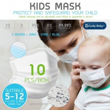 K.Kids Earloop 3Ply Face Mask - 10pcs/box (BLUE ONLY)